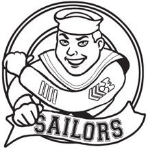 "Salty the sailor mascot with text ""Sailors"""